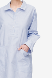Dropped Shoulder Sleep Shirt Blue Oxford Stripe