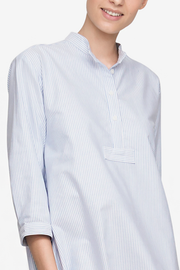 Full Length Sleep Shirt Blue Oxford Stripe