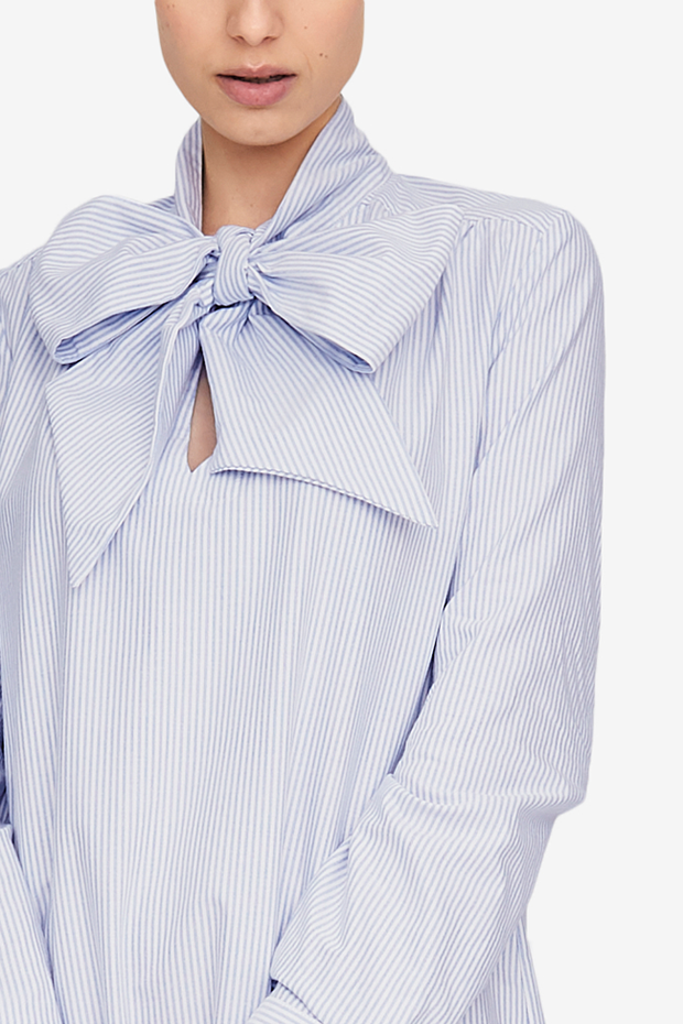 Helena Dress Blue Oxford Stripe