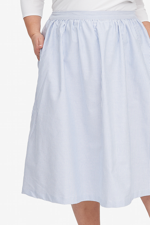 House Skirt Blue Oxford Stripe