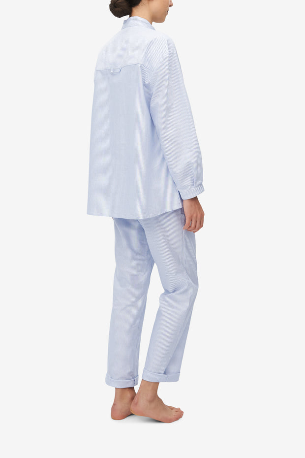 Set - Long Sleeve Shirt and Slash Pocket Pant Blue Oxford Stripe
