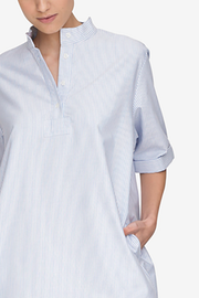 Mid Sleeve Sleep Shirt Blue Oxford Stripe
