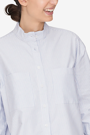 Placket Sleep Shirt Blue Oxford Stripe
