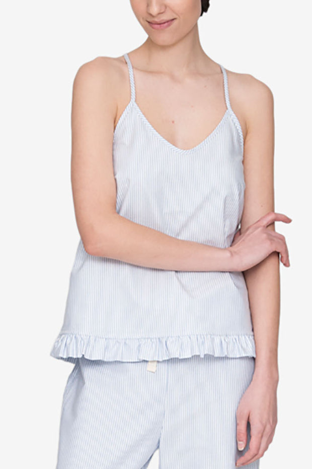 camisole tank top short with ruffle hem pajama set blue oxford stripe cotton by the Sleep Shirt