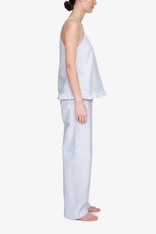 Set - Ruffle Camisole and Lounge Pant Blue Oxford Stripe