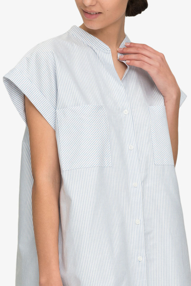 front view knee length button down tshirt with pockets in blue oxford stripe cotton by the Sleep Shirt