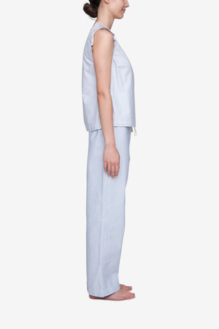 Set - Wrap Top and Lounge Pant Blue Oxford Stripe