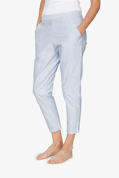 front view tapered pajama pants in blue oxford stripe cotton by the Sleep Shirt
