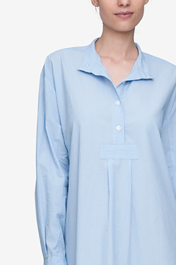 Long Sleep Shirt Light Blue Pinstripe Seersucker