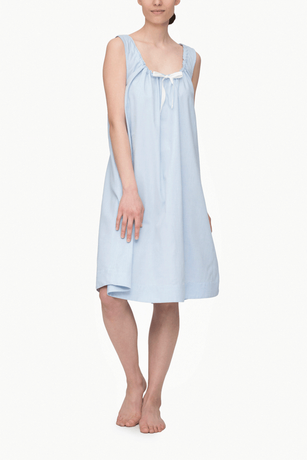 front view sleeveless adjustable neckline nightie nightgown blue royal oxford cotton by the Sleep Shirt