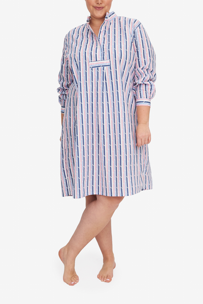 Showing the Plus sized version of our best selling Long Sleep Shirt, the  pink and blue trio stripe is bright and fun.