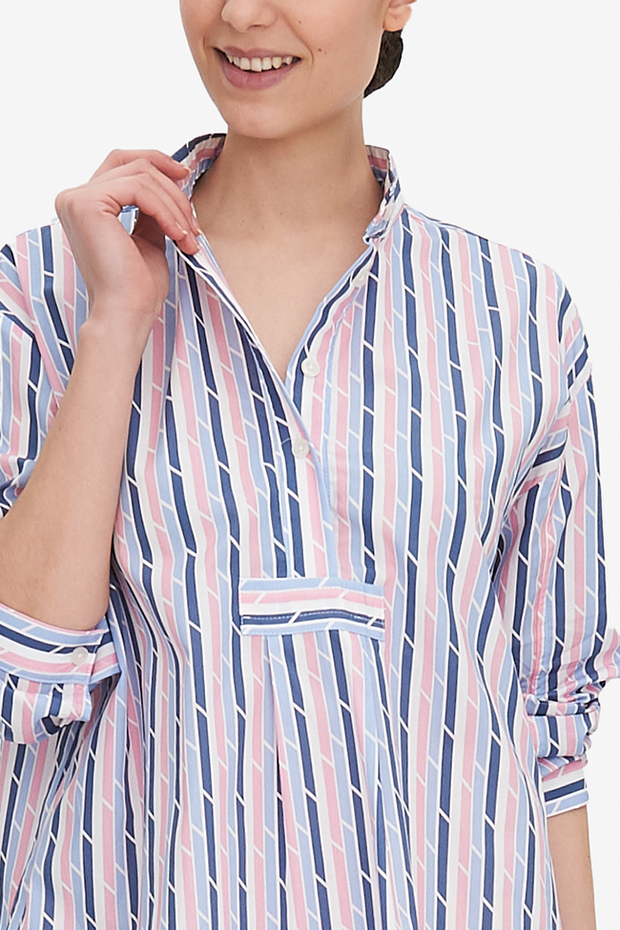 Long Sleep Shirt Blue & Pink Trio Stripe