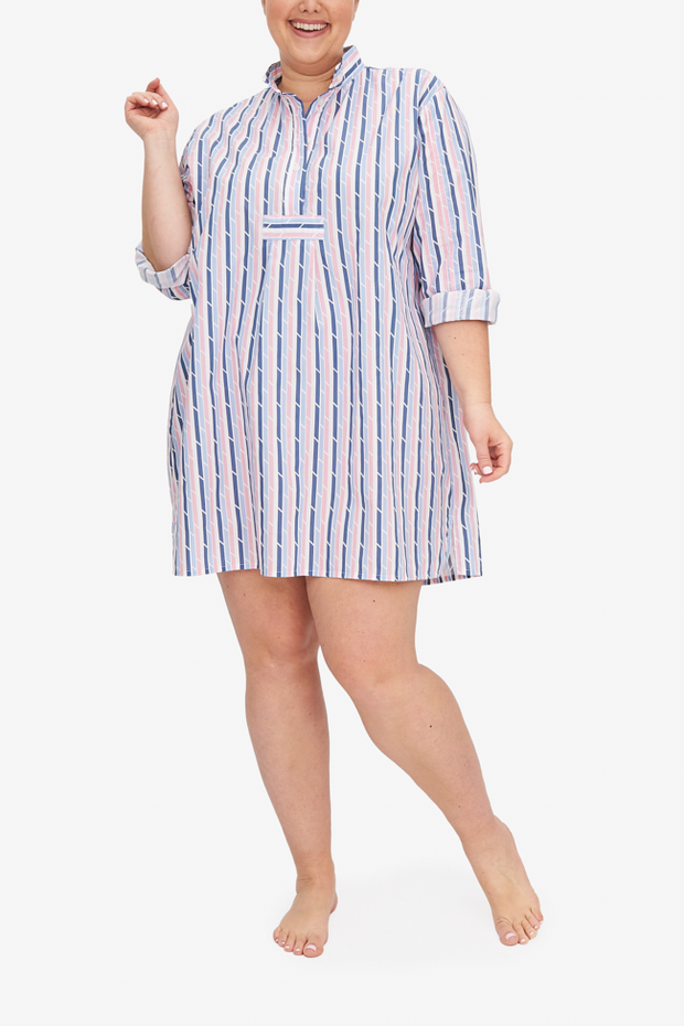 The Blue & Pink trio stripe is fun and flirty, and it makes the Short Sleep Shirt Charlotte is wearing youthful and adorable.