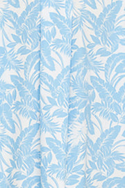 Short Sleep Shirt Blue Tropical Print