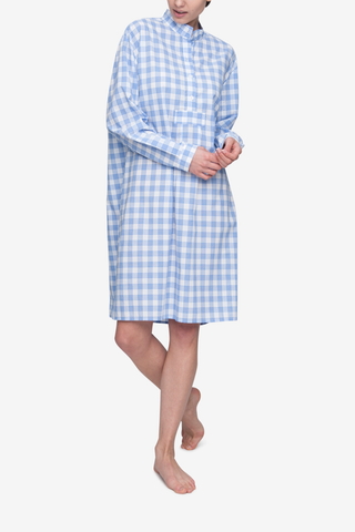 Long Sleep Shirt Blue and White Open Plaid