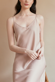 Long Slip Dress Blush Tencel Twill