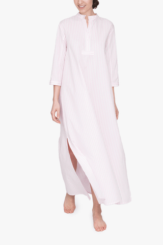 front view floor length sleep shirt cotton bubblegum stripe by the Sleep Shirt