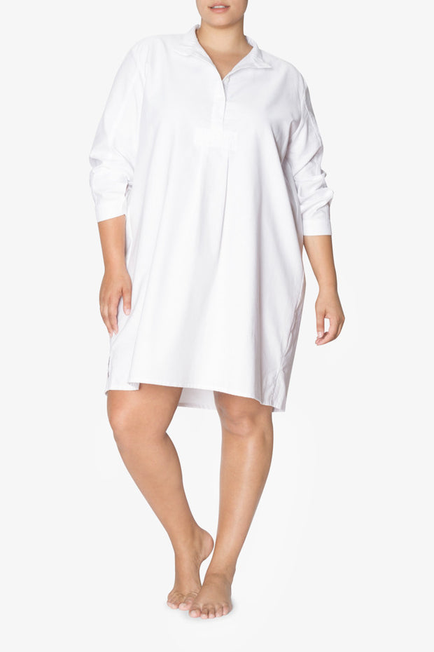 front view plus size long sleep shirt white pique cotton by the Sleep Shirt