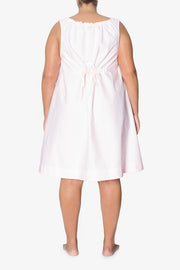 back view plus size sleeveless adjustable neckline nightie nightgown pink oxford stripe cotton by the Sleep Shirt