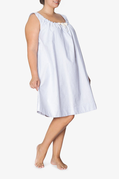 front view plus size sleeveless adjustable neckline nightie nightgown blue oxford stripe cotton by the Sleep Shirt