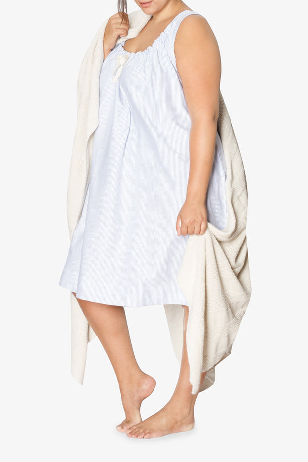 plus size sleeveless adjustable neckline nightie nightgown blue oxford stripe cotton with blanket by the Sleep Shirt