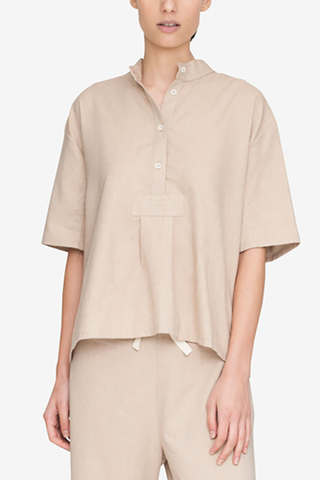Short Sleeve Cropped Sleep Shirt Camel Twill