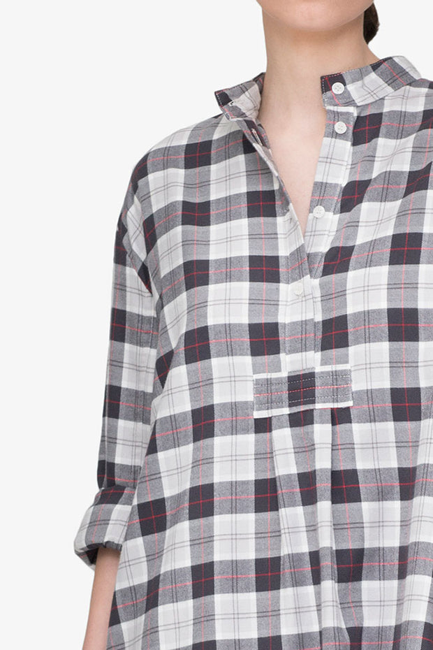 Short Sleep Shirt Grey Carnaby Plaid