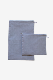 Charcoal Chambray Pouches - Large Set of 2