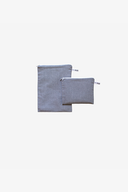Charcoal Chambray Pouches - Small Set of 2