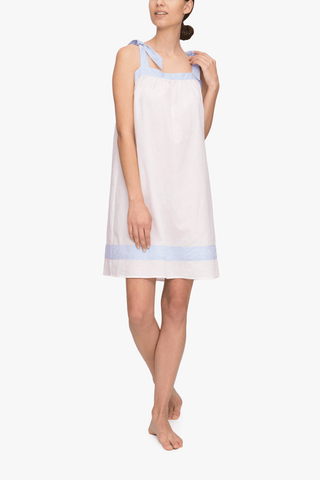 Tie Nightie Cream with Blue Linen Blend Contrast