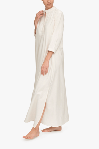 front view floor length sleep shirt cream herringbone cotton by the Sleep Shirt