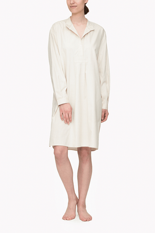 Long Sleep Shirt Cream Rectangle Check