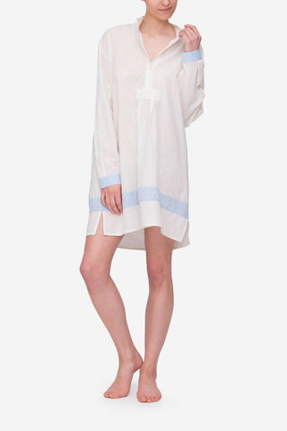 Short Sleep Shirt Cream with Blue Linen Blend Contrast