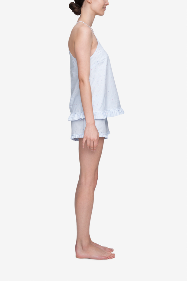 Ruffle Camisole Cross Blue Stripe