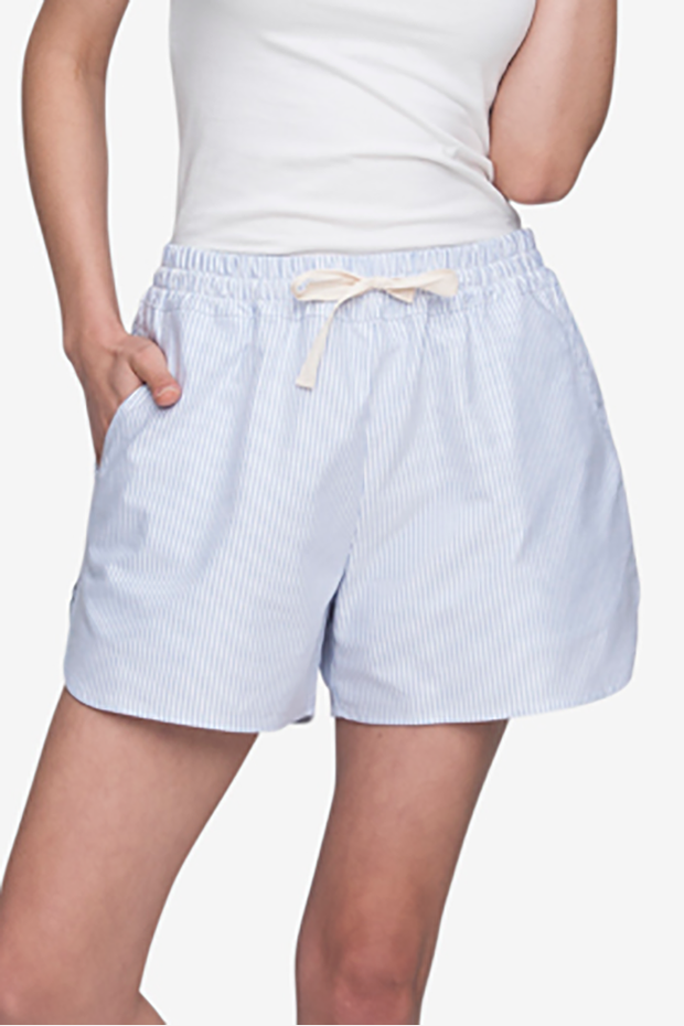 Set - Shawl Collar Top & Curved Hem Short Blue Oxford Stripe