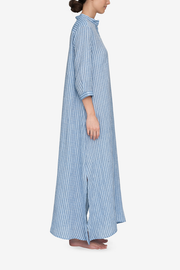 Full Length Sleep Shirt Double Blue Stripe Linen