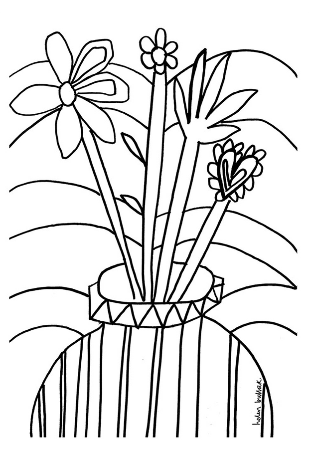 Helen Bullock Colouring Page Download - Flowers
