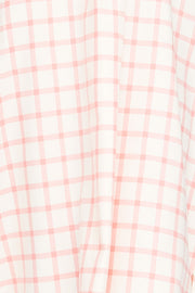 Short Sleep Shirt Pink Check Flannel PLUS