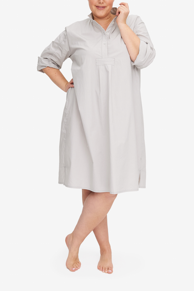 The Long Sleep Shirt in plus size in a subtle grey cotton shirting with a smooth, crisp texture. It should hit below the knee on most people, making it modest and luxurious.