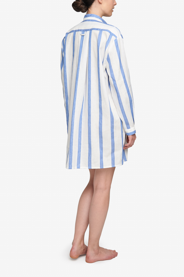 Short Sleep Shirt Giant Blue Stripe