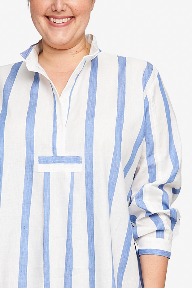 Short Sleep Shirt Giant Blue Stripe PLUS