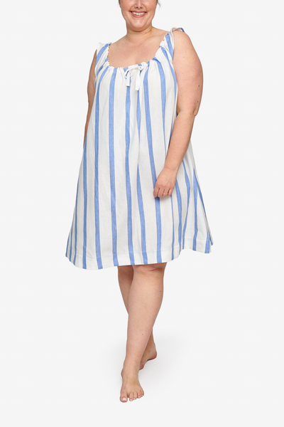 Sleeveless Nightie Giant Blue Stripe PLUS