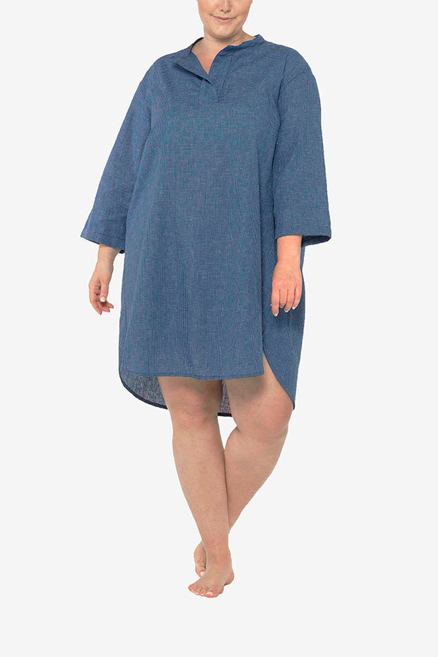Slip On Sleep Shirt Navy Graph Check PLUS