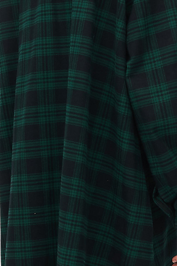 Bishop Sleeve Shirt Green Check Flannel