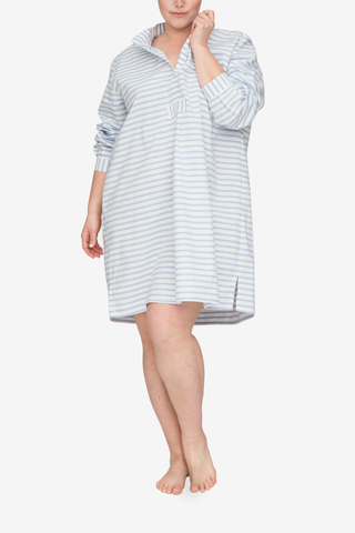 front view plus size classic short sleep shirt harajuku stripe cotton linen blend by the Sleep Shirt