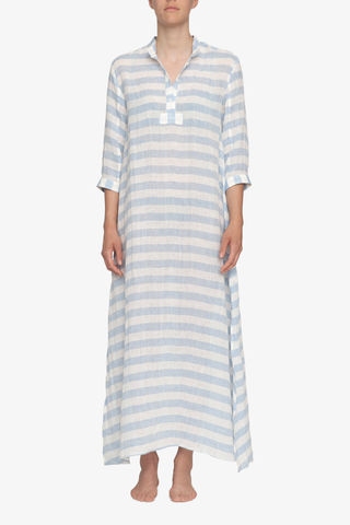 front view floor length sleep shirt blue horizontal stripe linen by the Sleep Shirt