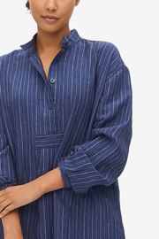 Short Sleep Shirt Indigo Linen Stripe