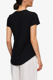 Short Sleeve Crew Neck T-Shirt Black Stretch Jersey