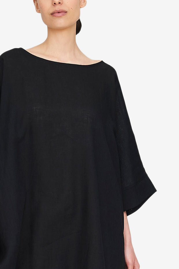 Pocket Kaftan Black Linen