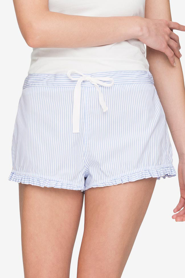 Set - Swing Top & Ruffle Short Periwinkle Stripe